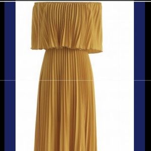 Pleated off the shoulder maxi Dress
